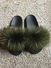 Womens Slip On Size Flat Genuine Fox Fur Slider Mules Fur New New Boutique