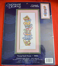 CANDAMAR DESIGNS COUNTED CROSS STITCH TEACUP STACK PICTURE KIT 50804