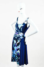Emilio Pucci Navy Blue Multicolor Graphic Floral Print Sleeveless A Line Dress
