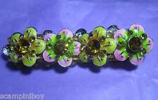 KIRKS FOLLY Pink & Yellow Enamelled Crystal Flower Expandable Stretch BRACELET