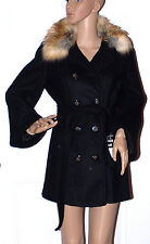 New Laundry Shelli Segal Black Wool Blend Coat Jacket Faux Fur Trim Belted 2