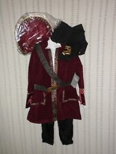 DISNEY STORE Captain Hook Costume LARGE 10  WITH HAT HOOK SWORD NEW