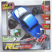 New Bright BIG Remote Control Monster Truck BLUE Wheelie Dodge Ram Rebel 6.4V