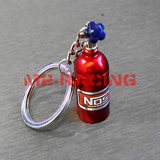 Red Chrome Mini Oxide Nitrous Pill Stash Box Auto Racing Parts Keychain Keyring