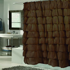"Fabric Shower Curtain 70"" x 72"" Elegant Crushed Voile Ruffled Tier Brown"