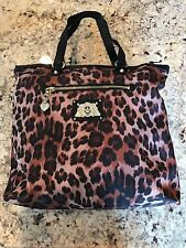 JUICY COUTURE BLACK GOLD LEOPARD NYLON PENNY TOTE HAND BAG PURSE JUICY NEW