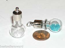 1 Large Screw Cap Crystal Ball Glass bottle vial charm urn pendant necklace fill