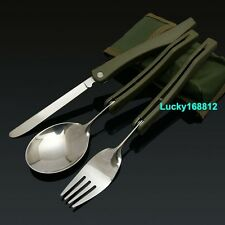 3in1 Outdoor BBQ Travel Camping Folding Knife Fork Spoon Utensils Pocket Set