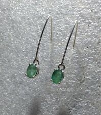 925 Sterling Silver Oval Cut Natural Emerald Dangle V Hook Earrings 1.80CTW