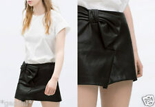 ZARA SIZE M 36 38 LEDER ROCK MINIROCK Lederimitat FAUX LEATHER MINI SKIRT BOW