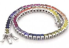 "925 Sterling Silver Rainbow MultiColor Princes Sapphire Tennis 7"" inch Bracelet"