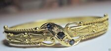 Victorian Art Deco Vintage Sapphire Diamond Bracelet 15K Yellow Gold IC 6.5 ""