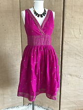 Issac Mizrahi Fuchsia & Gold Sari Block Print Sun Dress SZ 4 Full Skirt Cotton