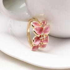 Fashion Romantic Exquisite 18K Gold Plated Rhinestone Flower Ring Sz.6 AG