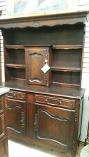 Antique FrenchOak Buffet Display Cabinet with Open Hutch w57 x d19.75 x 80.5