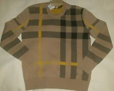 Burberry Brit Check Plaid Knit Cashmere Luxury Crewneck Sweater Camel Small & Md