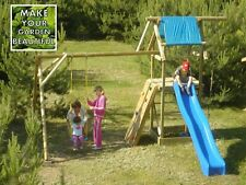 'ALEX' WOODEN ACTIVITY PLAY CENTRE, SWING AND SLIDE, HIGH QUALITY WOOD