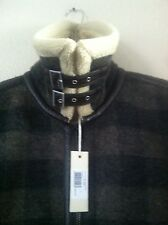 DIESEL W-OJAS FAUX SHEARLING CHECKERED/PLAID MENS L JACKET WITH FAUX LEATHER