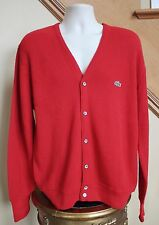 IZOD LACOSTE Red VINTAGE 100% Orlon Alligator Cardigan Sweater Men L Prep Frat