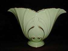 Carlton Ware England Large Art Deco Chartreuse Green Vase w 22k Accents