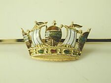 Naval Crown bar brooch antique 9 carat & 15 carat gold enamel Ca. 1900 2.8 grams