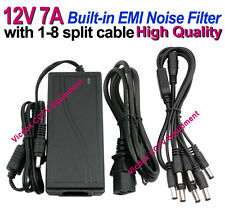 DC 12V 7A Power Adapter +8 Ports Split Cable for CCTV Security Camera DVR System