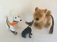 American Girl Doll JULIE - Dog Walking Set - 3 Dogs Chihuahua Terrier Poodle