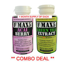 ACAI BERRY& GREEN TEA SLIMMING DETOX COMBO WEIGHT LOSS FAT BURNERS DIET PILLS 91