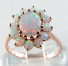 9CT 9K Rose Gold Australian Opal Cluster Ring Large Free Resize L-Q 1/2