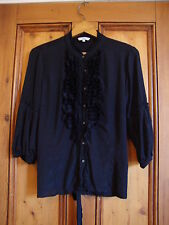 NEW LOOK.  BLACK FRILLED TUNIC BLOUSE TOP.  SIZE 16