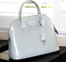 "SALE !! Auth. w/Original Box Hermes Leather Bolide Handbag, Gray w/Strap ""E"""
