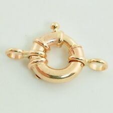 11MM 14k Solid Yellow Gold Designer Italy Spring Ring Clasp CLOSED