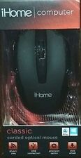 iHome Classic Computer Corded Optical Mouse IH-M600B Black NEW & SEALED