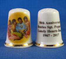 Birchcroft China Thimble -- Beatles Sgt Peppers 50th Anniversary - Free Dome Box