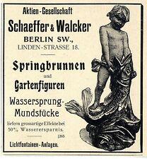 Schaeffer & Walcker Berlin SW. Springbrunnen u.Gartenfiguren Histor.Annonce 1899