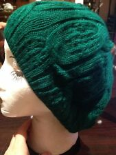 Vintage Lacy Knit Emerald Green Hat