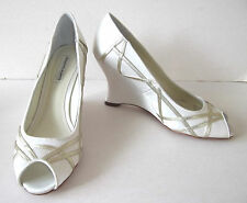 BENJAMIN ADAMS London(£189RRP)Ladies Wedge Shoes Size 7(41) - Pearl White Satin