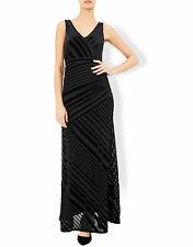 New MONSOON Helena Black Velvet Stripe Maxi Evening Dress Size 18 BNWT £99