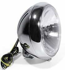 "7"" FAROS CRISTAL CLARO cromo Grooved para Harley Fatboy heritage softail HD"