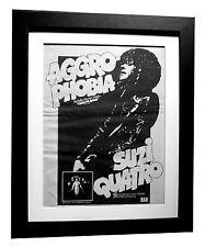 SUZI QUATRO+Aggro Phobia+POSTER+AD+RARE+ORIGINAL 1977+FRAMED+EXPRESS GLOBAL SHIP