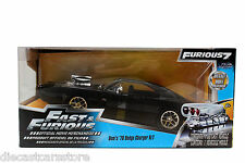 """JADA 1970 DODGE CHARGER R/T BLACK DOM'S """"FAST & FURIOUS 7 """" MOVIE 1/24 97059"""
