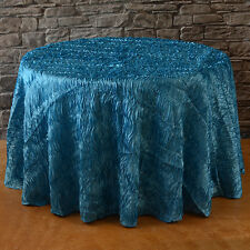 "120"" ROUND MALIBU TURQUOISE SATIN RIBBON WAVE WAVY TABLECLOTH"