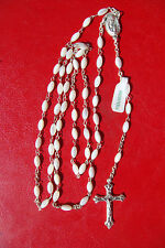 """JESUS SACRED HEART/ VIRGIN MARY PRAYNG"" MOTHER OF PERAL BEADS BEAUTIFUL ROSARY"