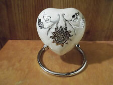 Gorgeous Ivory Pearl & Silver Brass Heart Keepsake Urn in Stand~holds up to 7#