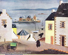 OLD ENGLISH Seaside Ocean Village COTTAGE Boat Vintage 1950 MATTED Picture Poem