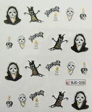 Accessoire ongles : nail art- Stickers Halloween : arbre, bougie ,scream