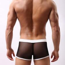 Adult Sexy Mens Low Rise Bulge Pouch Underwear Boxer Mesh Short Black XL