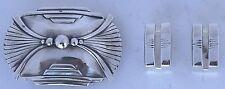 Modern big Southwest sterling silver ranger buckle 3 piece set designer signed