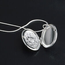 925 Sterling Silver Plated Rose Round Locket Necklace Box Snake Chain JewelryHOT