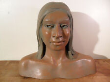 VINTAGE~HAND MADE YOUNG INDIAN POTTERY BUST SCULPTURE~SIGNED~LOU MARQUETTE
